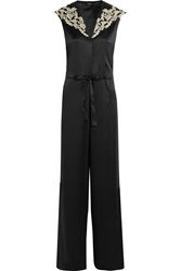 La Perla Embroidered Silk Blend Satin Jumpsuit