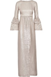 Merchant Archive Ruffled Trimmed Silk Blend Lame Gown Gold