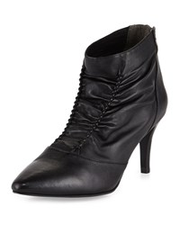 Adrianna Papell Nikki Leather Mid Heel Bootie Black