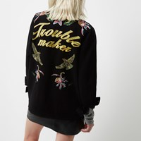 River Island Womens Petite Black Embroidered Badge Utility Jacket