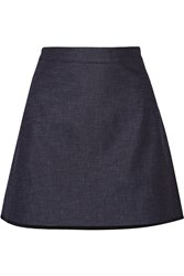 Victoria Beckham Silk Trimmed Stretch Denim Mini Skirt
