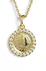 Argentovivo Argento Vivo Pave Framed Mother Mary Pendant Necklace Gold