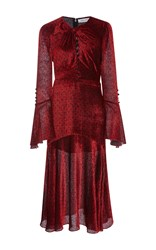Prabal Gurung Long Sleeve Twist Dress With Keyhole Red
