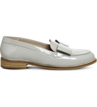 Office Present Bow Patent Leather Loafers Grey Patent Leather