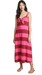 Mds Stripes Tie Front Dress Red Pink Bold Stripe