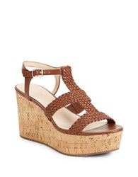 Kate Spade Tianna Woven Leather Cork Platform Wedge Sandals Luggage