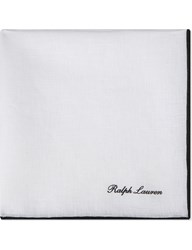 Ralph Lauren Purple Label Ptipped Linen Pocket Square White Black