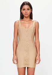 Missguided Camel Strappy Criss Cross Front Bandage Dress