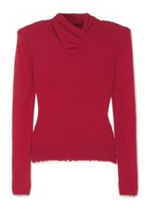 Unravel Project Distressed Ruched Cashmere Sweater Red