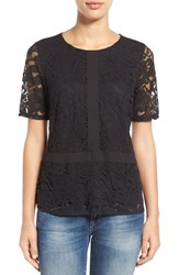 Women's Gibson Lace Overlay Short Sleeve Top