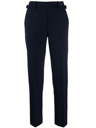Red Valentino V Side Buckle Cropped Trousers Blue
