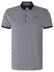 Scotch And Soda Polka Dot Contrast Tipped Polo Shirt Blue