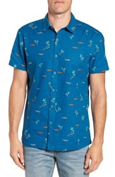 Kahala Local Time Print Linen And Cotton Sport Shirt Teal