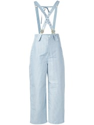 Kenzo Stripe Trousers With Braces Women Cotton Polyester 36 Blue