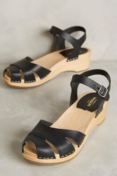 Anthropologie Swedish Hasbeens Suzanne Debutant Clogs Black 36 Euro Wedges