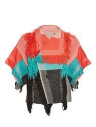 Issey Miyake Parrot Fringed Check Jacket Red Multi