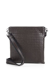 Bottega Veneta Intrecciato Leather Crossbody Messenger Blue Brown