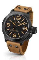 Tw Steel Men's Canteen Leather Strap Watch 45Mm Camel Black