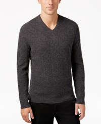 Alfani Men's Mercerized Wool Sweater Only At Macy's Charcoal Heather