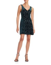 Design Lab Lord And Taylor Velvet Baroque Fit Flare Dress Green