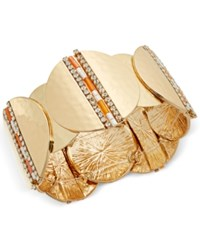Thalia Sodi Gold Tone Bead And Pave Hammered Disc Stretch Bracelet Only At Macy's