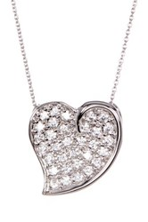 18K White Gold Plated Sterling Silver Pave Cz Heart Pendant Necklace Metallic