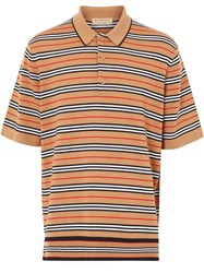 Burberry Stripe Knit Polo Shirt Yellow