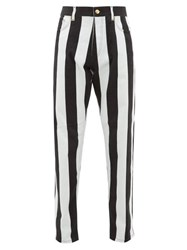 Versace Striped Baroque Print Jeans Black White
