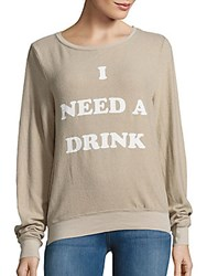 Wildfox Couture Textured Long Sleeve Pullover Tea Time