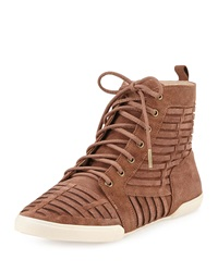 Elliott Lucca Rima Woven Suede High Top Sneaker Chocolate