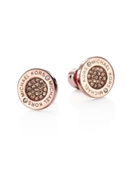Michael Kors Pave Crystal Stud Earrings Rose Goldtone Vintage Rose Gold