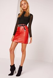 Missguided Faux Leather Mini Skirt Red Red
