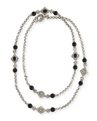 Konstantino Carved Sterling Silver And Black Onyx Station Necklace 36 L