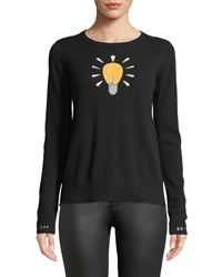 Lisa Todd Lighten Up Textured Lightbulb Cashmere Pullover Sweater W Embroidered Cuffs Onyx