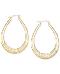 Macy's Large Patterned Teardrop Shape Hoop Earrings In 14K Gold Vermeil