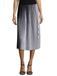 Lafayette 148 New York Striped Plisse Cotton Skirt Black White
