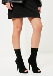 Missguided Black Faux Suede Peep Toe Platform Boots