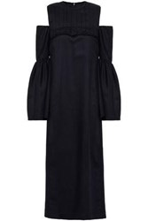 Mother Of Pearl Woman Cold Shoulder Gathered Wool Twill Midi Dress Navy