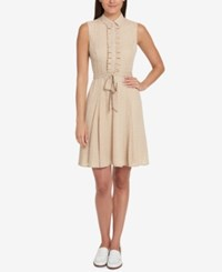 Tommy Hilfiger Ruffled Shirtdress Created For Macy's Sand Ivory