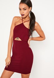 Missguided Red Strappy Cut Out Waist Bodycon Dress Burgundy