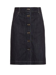 Tomas Maier Button Through Denim Skirt Dark Denim