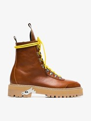 Off White Camel Lace Up Leather Hiking Boots Brown