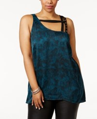 Mblm By Tess Holliday Trendy Plus Size Strappy Asymmetrical Top Very Deep Teal