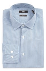 Boss Men's Big And Tall Marley Us Sharp Fit Easy Iron Stripe Dress Shirt Turquiose Aqua
