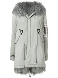 Mr And Mrs Italy Trimmed Hooded Parka Grey