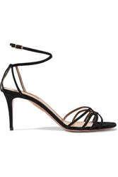 Aquazzura Very First Kiss 75 Suede Sandals Black