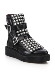 Marc By Marc Jacobs Bowery Studded Leather Platform Moto Boots Black