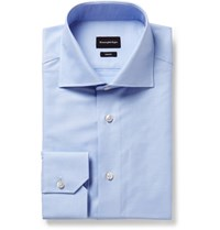 Ermenegildo Zegna Light Blue Trofeo Slim Fit Cutaway Collar Cotton Poplin Shirt Light Blue