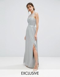 Little Mistress Lace Maxi Dress With Belt Waterlily Grey