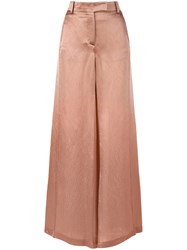 Valentino Textured Wide Leg Trousers Nude And Neutrals